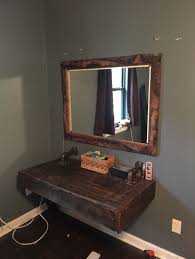 industrial diy furniture. Extraordinary Diy Rustic Wall Mounted Pallet Makeup Vanity With Industrial Pipe Joinery And Wooden Framed Square Mirror Featuring Single Knobless Drawer Furniture E