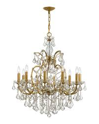 crystorama ore 10 light swarovski gold chandelier