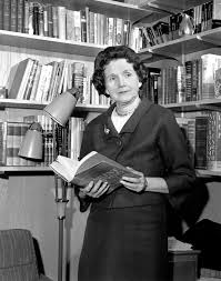 clip the bravery of rachel carson com holding her controversial book silent spring rachel carson stands in her library in