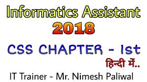 cascade style sheet cascade style sheet css part 1 informatics assistant in hindi