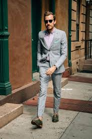 how to wear grey suit pink long sleeve shirt dark green leather oxford