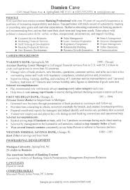 resume for banks