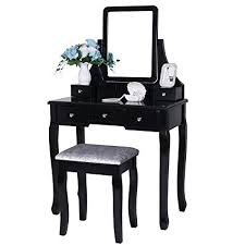amazon bewishome vanity set with mirror cushioned stool dressing table vanity makeup table 5 drawers 2 dividers movable organizers black fst01h