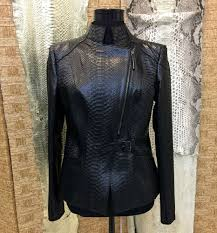details about women s genuine python leather black luxury fashion snake skin jacket for las