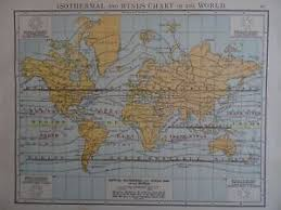 Details About Victorian Map 1896 Isothermal Wind Chart Of The World The Time Atlas 1st Gen