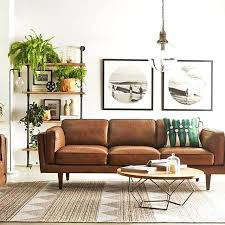 modern living room ideas with brown leather sofa mid century couch dark furniture engaging full size