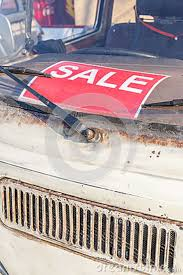 For Sale Sign On Car Red Sale Sign On Grungy And Old Used Car Windshield Automobile