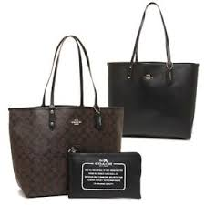 Coach F36658 Signature Reversible PVC City Tote Brown Black