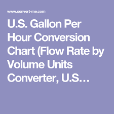 U S Gallon Per Hour Conversion Chart Flow Rate By Volume