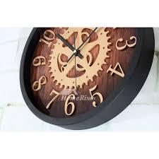 industrial gear wall clock black brown