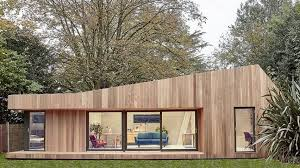 prefabricated garden office. prefabricated garden studio in south london is clad cedar and lined birch office
