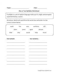 Worksheet Syllable Worksheets For Kindergarten Luizah S ~ Koogra