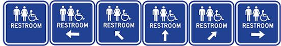 restroom directional sign. ADA Guide Sign To Restrooms And Bathrooms - 12x12 Optional Color, Symbols Arrow Direction Heavy-Gauge Reflective Aluminum Handicapped Bathroom Signs Restroom Directional E