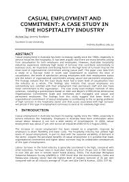 Casual Employment And Commitment A Case Study In The Hospitality