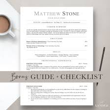 Professional Resume Template For Word Pages Open Office Etsy How To