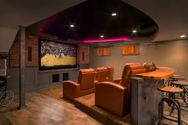 Beautiful Basement Ideas For Men Inhome Theater Rustic Wood Floors Brick Walls Bar Throughout