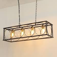 retro industrial clear glass globe black iron 4 light 6 light linear pendant chandelier