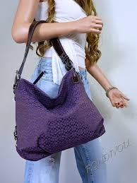 Coach RARE Purple Medium Signature Hobo Shoulder Crossbody Tote Bag Purse    eBay