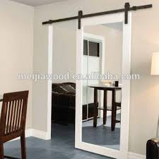 elegant white painted laminated mirror barn door