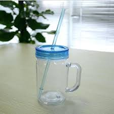plastic mason jars whole oz acrylic with straw and mug juice cup drinking water free clear glass coffee mugs