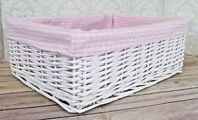image is loading white wicker basket pink gingham lining nursery