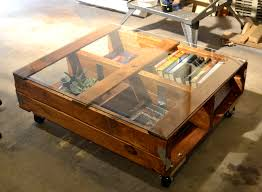 pallet coffee table glass top