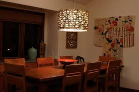 dining room room lighting ikea dark brown varnished wooden table large black drum shade pendant