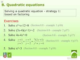 b quadratic equations exercises solve x² x 12 0 solve 3x