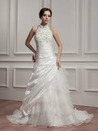 high neck strapless wedding dress with beads and applique detail