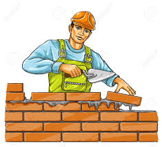 vector builder man with derby tool building a brick wall vector illustration build wall