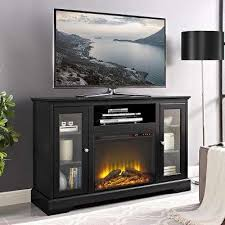D Highboy Fireplace Wood TV Stand Console  Black