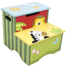 Amazon.com: Fantasy Fields - Sunny Safari Animals Thematic Kids Wooden Step  Stool with Storage | Imagination Inspiring Hand Crafted & Hand Painted  Details ...