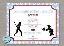 softball award certificate girls softball baseball t ball award certificate printable etsy