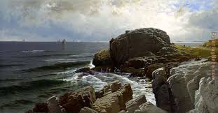 castle rock marblehead painting alfred thompson bricher castle rock marblehead art painting
