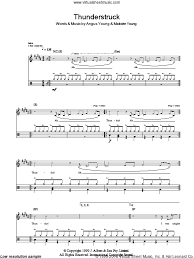 Ac Dc Thunderstruck Drums Sheet Music Fake Book Pdf