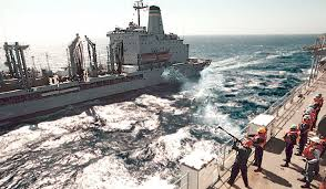 Us Navy Gunners Mate 3rd Class James L Wolfe Fires A Shotline From
