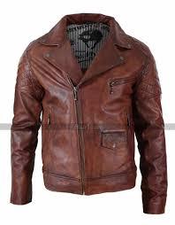 mens vintage washed tan brown motorcycle leather biker jacket