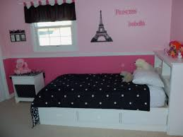 black white pink paris themed bedroom design with black dotted bedding on white bed before the bedroomamazing black white themed bedroom
