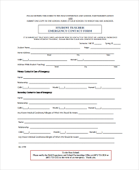 Student Emergency Contact Form Template 11 Emergency Contact Forms