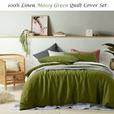 3 pce 100 pure linen mossy green quilt duvet cover set queen king super