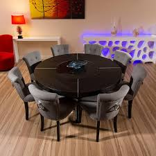 Round Kitchen Table For 8 Large Round Black Oak Dining Table 8 Low Back Grey Linen Chairs