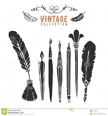 Free Ink Pens Vintage Retro Old Nib Pen Brush Ink Collection Stock Vector