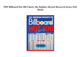 Pdf Billboard Hot 100 Charts The Eighties Record Research