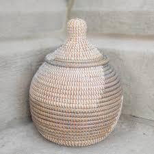 woven basket with lid. Woven Basket With Lid In Grey
