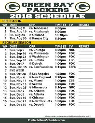 Printable Green Bay Packers 2019 Schedule