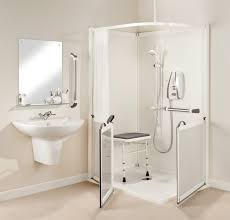shower stalls with seats. White Corner One Piece Shower Stalls With Foldable Seat In The Small Bathroom Spaces Ideas Seats R