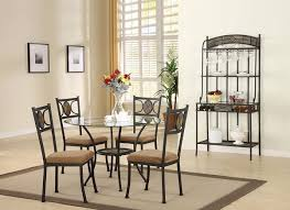 desi 5pcs glass top metal round dining table set