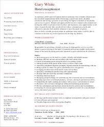receptionist resume .