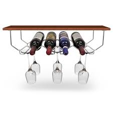 Under Cabinet Wine Racks Under Cabinet Wine Rack And Glassware Holder Holds 6 Bottles And