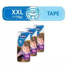 Wee Wee Diapers Size Chart Drypers Wee Wee Xxl 15 25 Kg 40 Pcs X 3 Packs 120 Pcs Tape Diapers